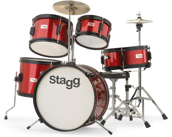 Batterie acoustique junior Stagg TIM JR 5/16 RD Junior - 5 fûts - Wine red